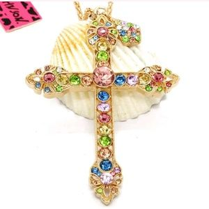 New Betesy Johnson Multi color cross necklace